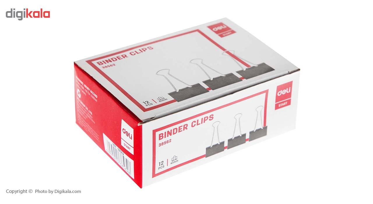 گیره کاغذ دلی مدل E38562  سایز 41 میلی متر بسته 12 عددی main 1 5