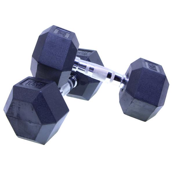 دمبل بدنسازی هنگدا مدل Rubber ششضلعی وزن 10 کیلوگرم بسته 2 عددی