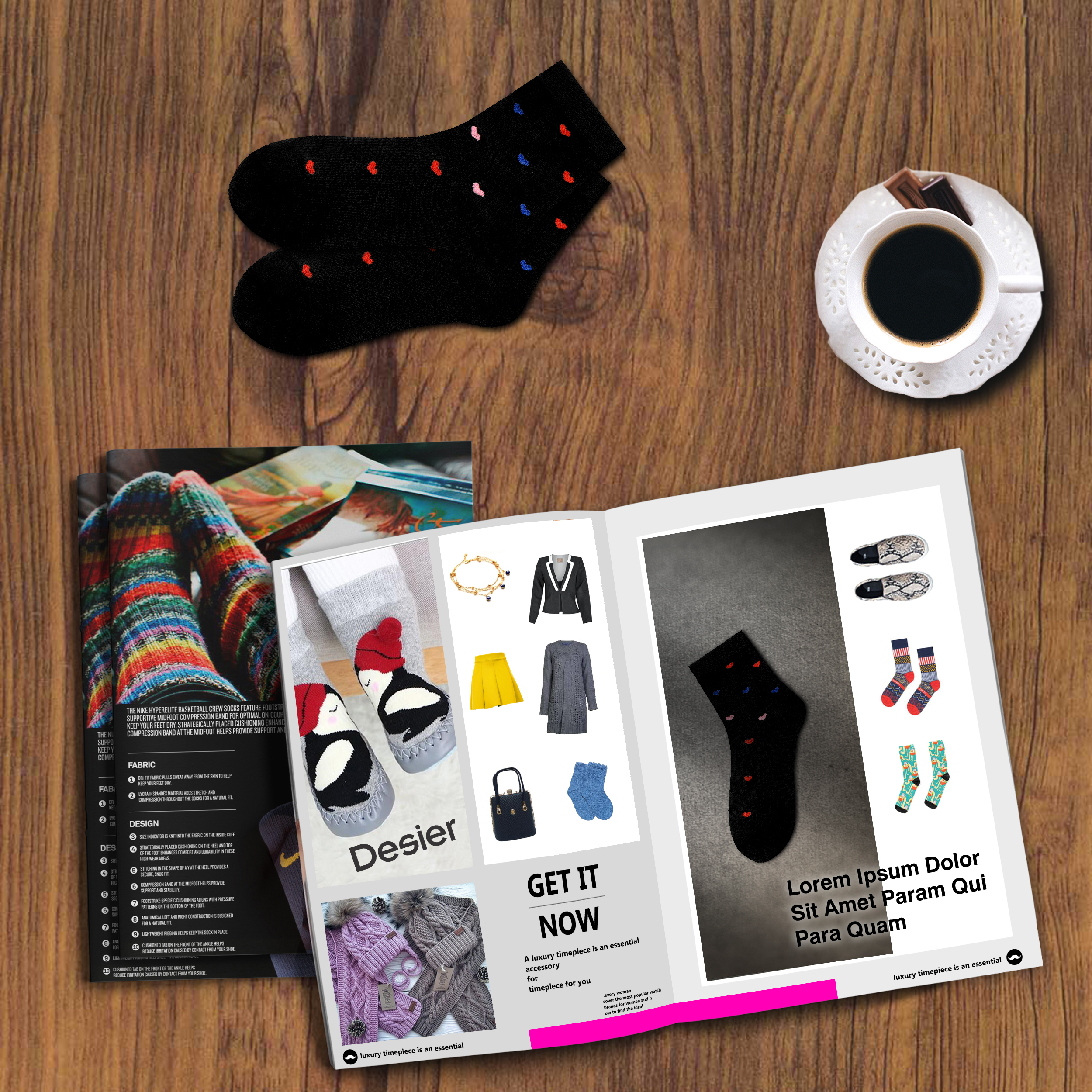 خرید                                      جوراب زنانه دیزر طرح قلب کد fiory1368-BK