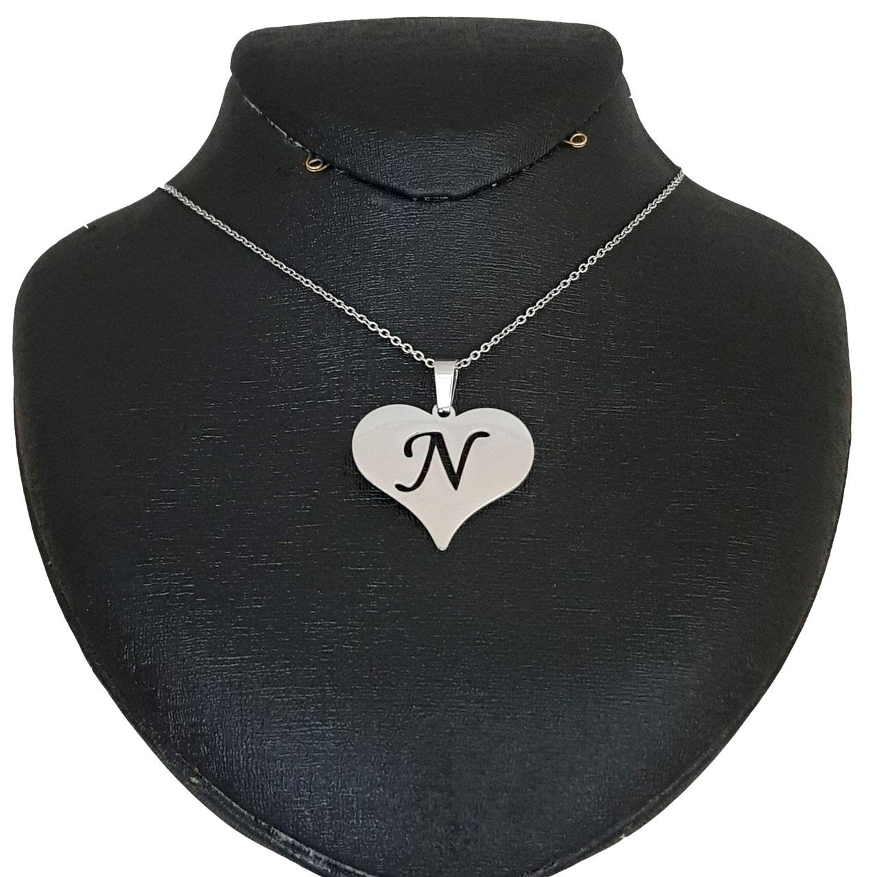 گردنبند نقره مدل قلب حرف N کد AC34