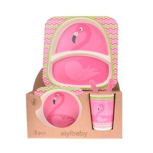 ست 5 تکه ظرف غذای کودک طرح Flamingo