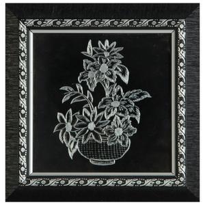 تابلو خراش روی فلز طرح گلدان گل