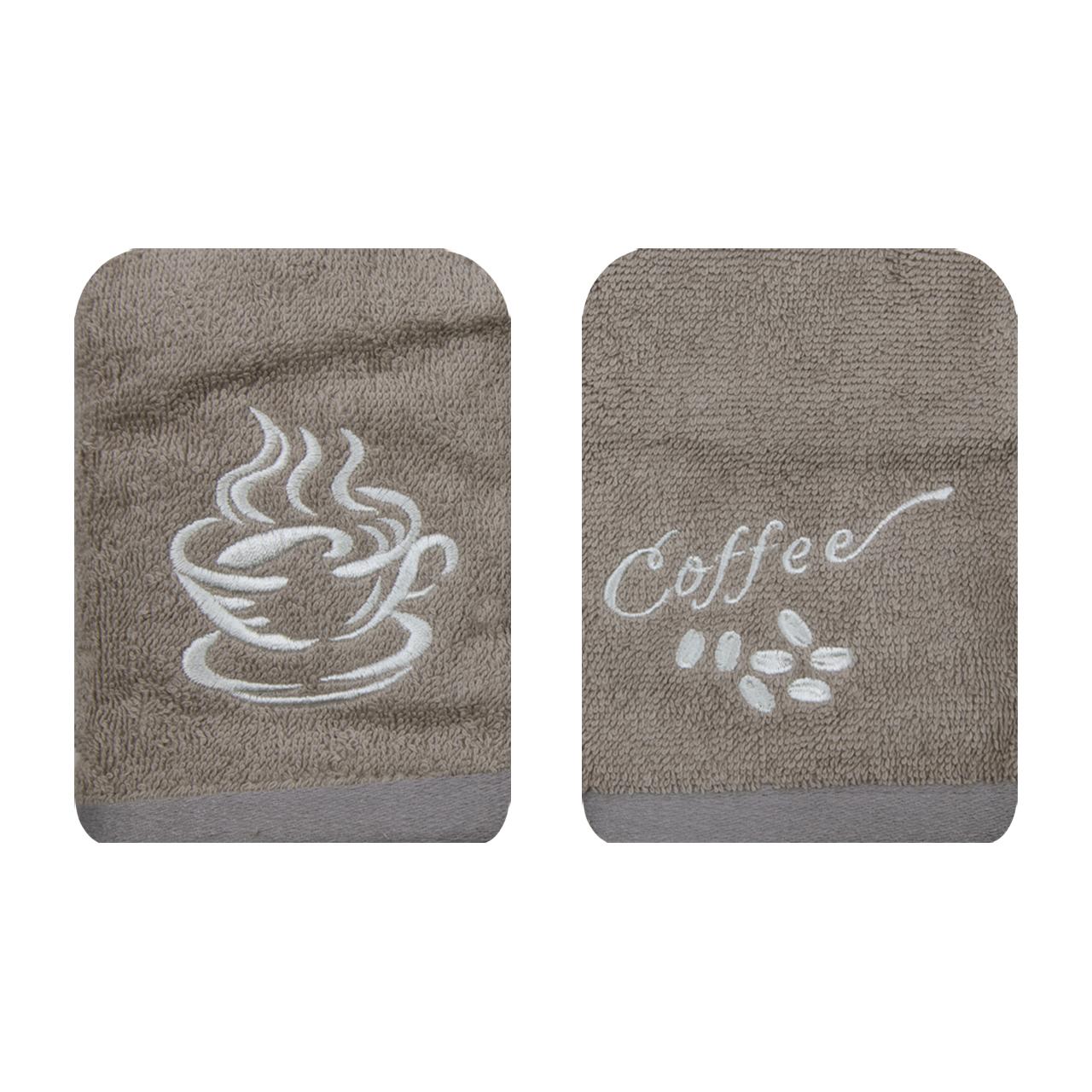 حوله دستی طرح Coffee سایز 50*50 بسته 2 عددی