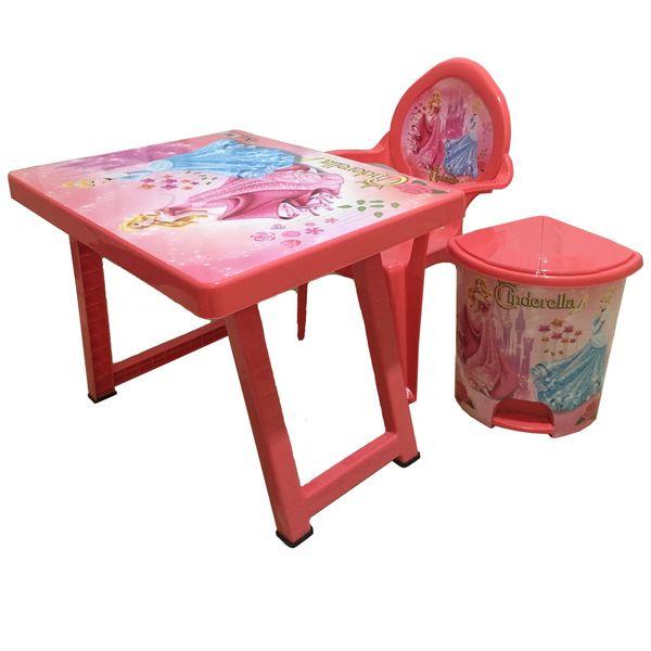 میز و صندلی تحریر تاشو به همراه سطل پدالی مدل سیندرلا |