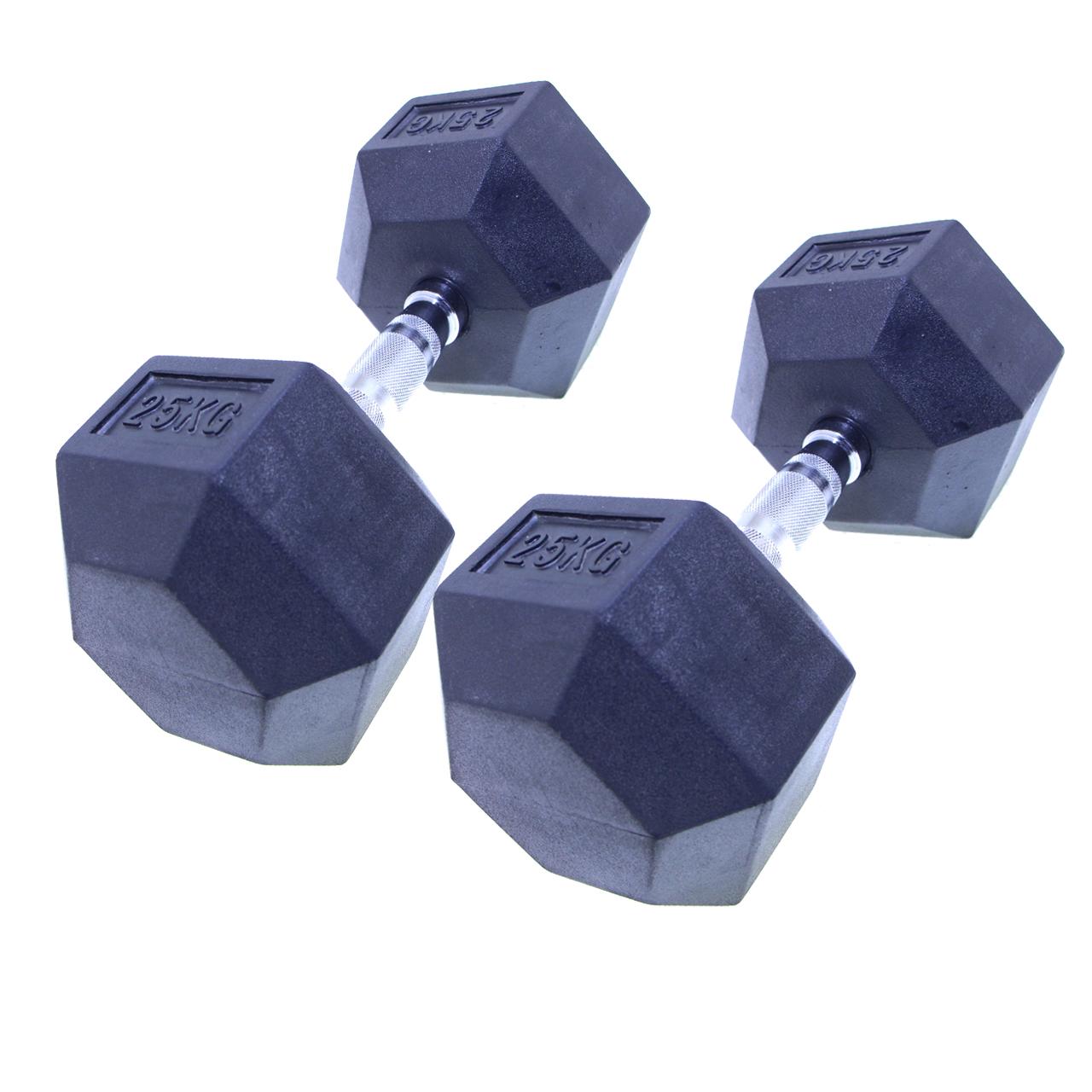 دمبل بدنسازی شش ضلعی هنگدا مدل Rubber1706 وزن 25 کیلوگرم بسته 2 عددی