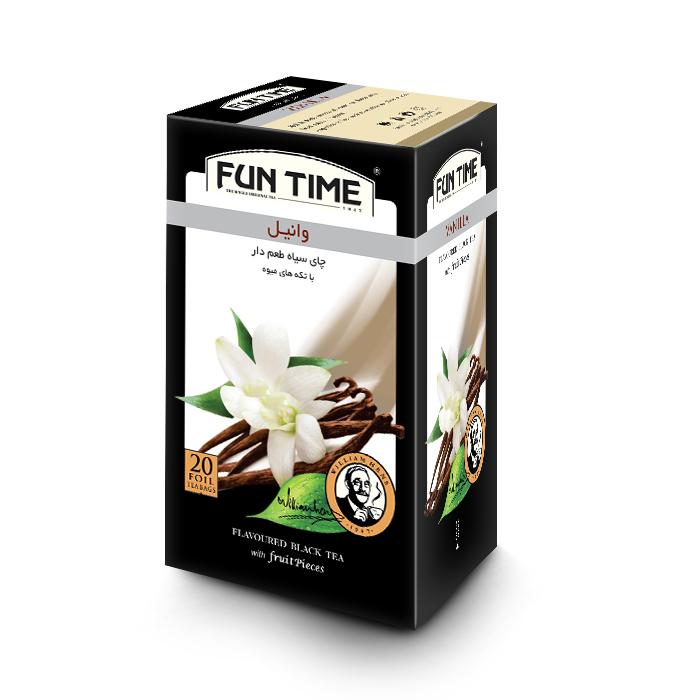 چای کیسه ای میوه ای فان تایم مدل وانیل بسته 20 عددی