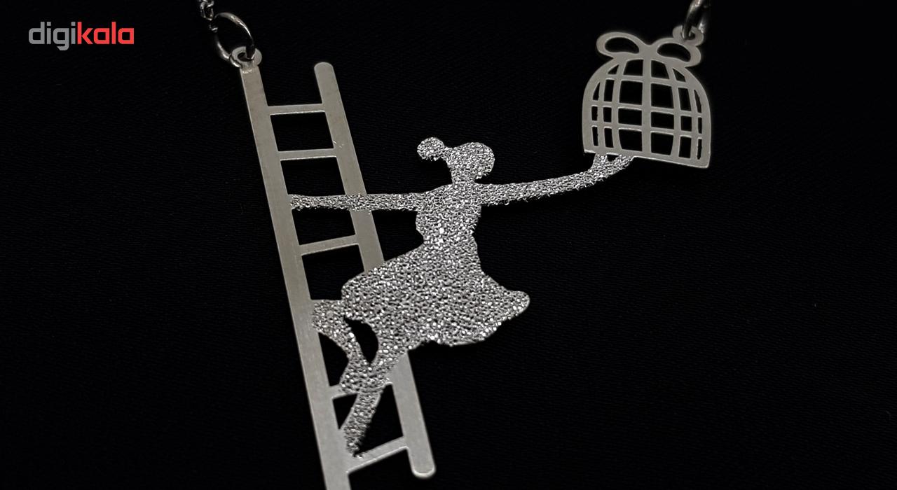 گردنبند نقره طرح دخترک و نردبان