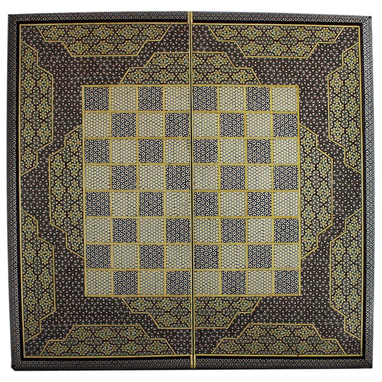 تخته نرد و صفحه شطرنج تمام خاتم طرح 410