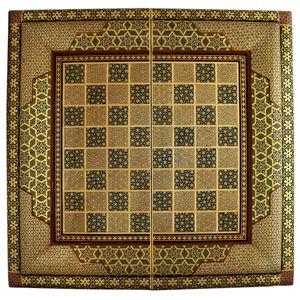 تخته نرد و صفحه شطرنج تمام خاتم اعلا طرح ستونی سایز 60 سانتیمتر کدCHDN01
