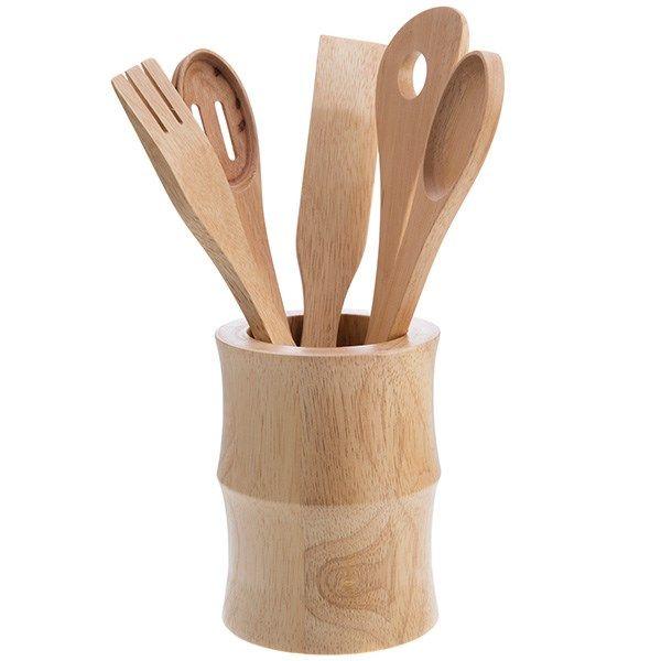سرویس ابزار آشپزی بیلی مدل چوبی 5 قطعه با پایه کد WA-107-1