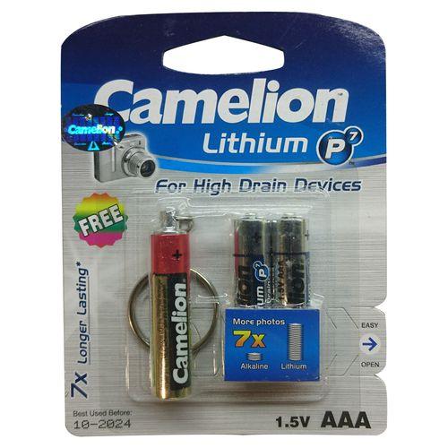 باتری نیم قلمی کملیون مدل Lithium P7 بسته 2 عددی به همراه چراغ قوه