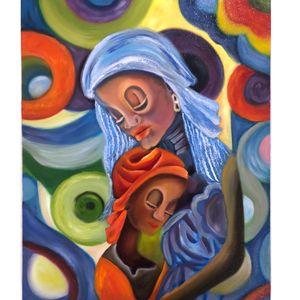 تابلو نقاشی روی بوم طرح مادر و فرزند