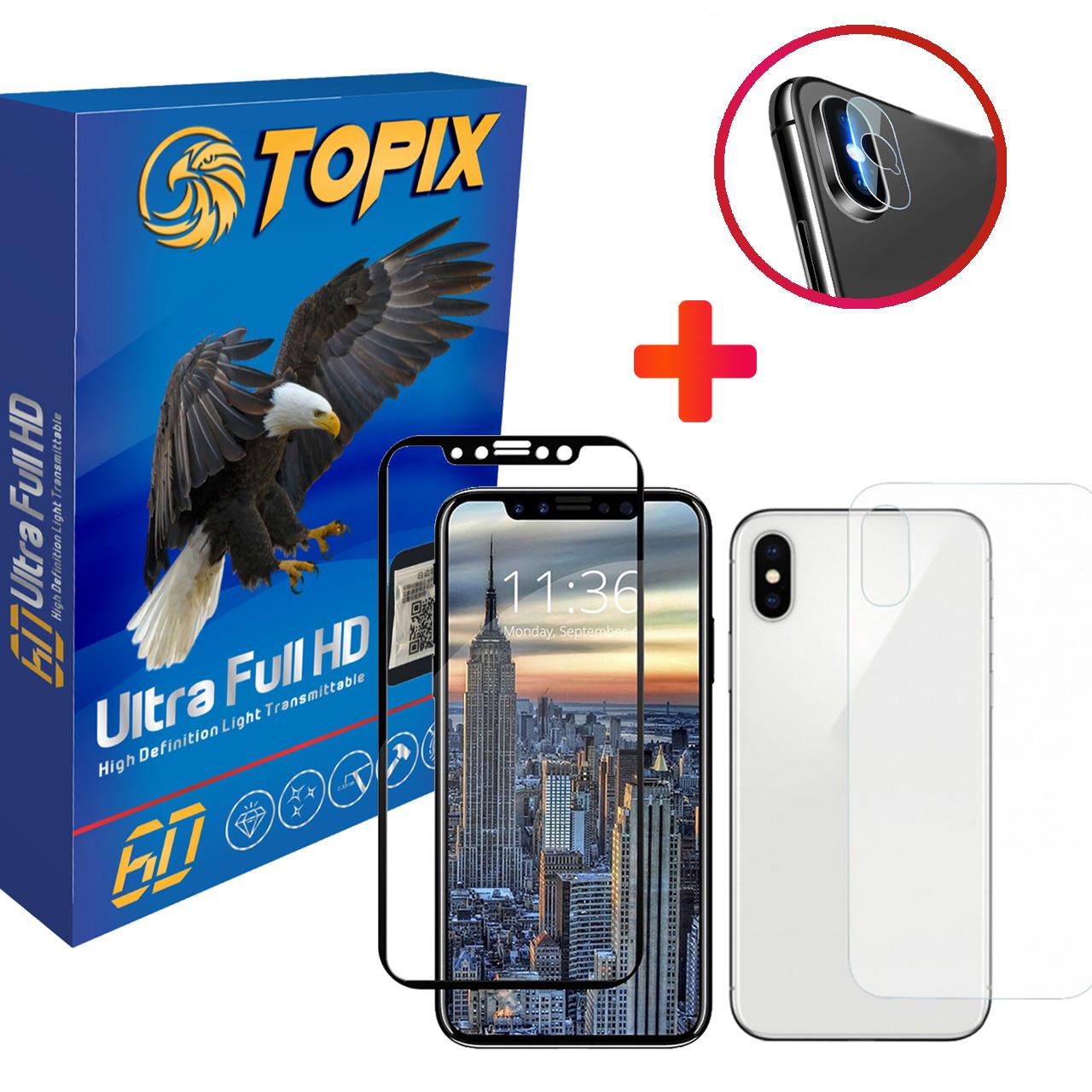 محافظ صفحه نمایش و پشت و لنز تمام چسب شیشه ای تاپیکس مدل Super Hard مناسب برای گوشی iphone X