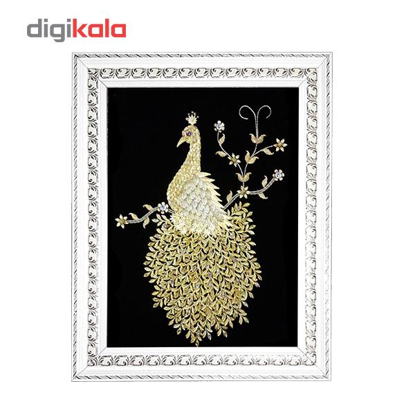خرید                      تابلو گل طلا طرح طاووس