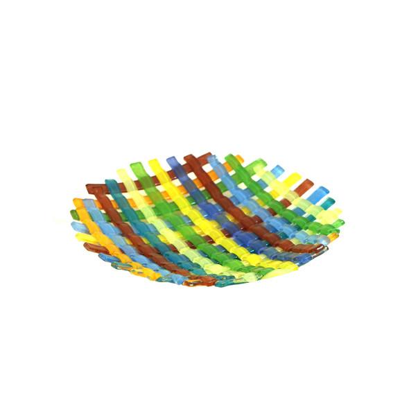 بشقاب همجوشی شیشه آرانیک گرد رنگ زرد  طرح حصیری مدل 1000300005
