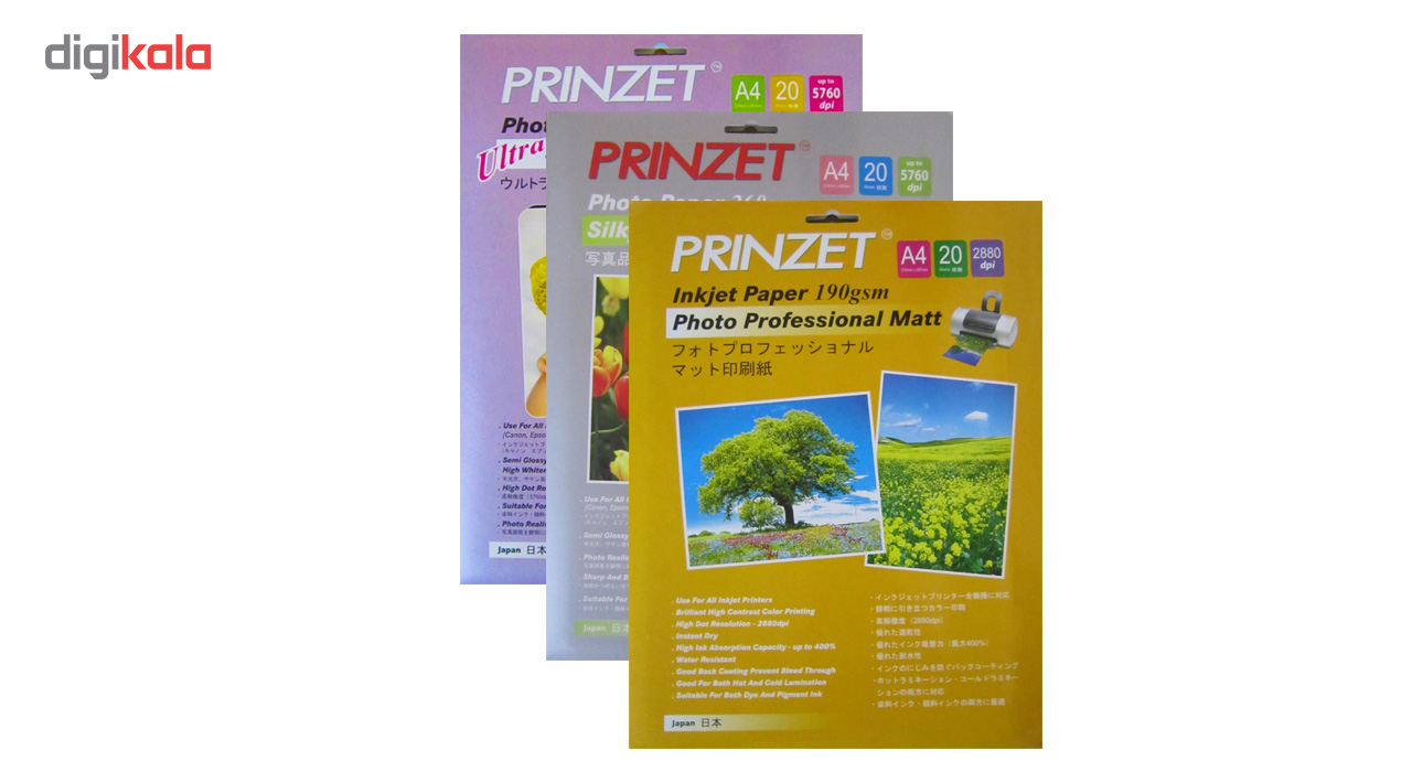 قیمت                      کاغذ پرینتر جوهر افشان گلاسه مات پرینزت مدل 190GSM بسته 20 عددی