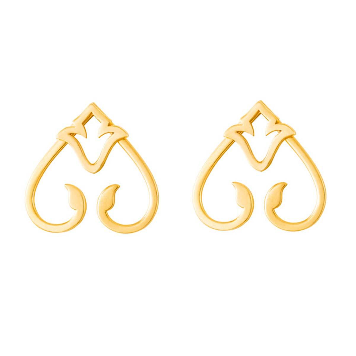 گوشواره طلا 18 عیار زنانه آمانژ طرح اسلیمی کد 1213D9137