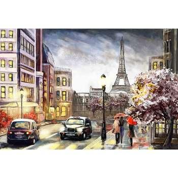 تابلو شاسی طرح نقاشی خیابان پاریس و برج ایفل مدل T1004