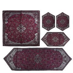 ست 5 تکه رومیزی ترمه سنتی یزد طرح شاه عباسی مدل P47-00