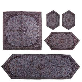 ست 5 تکه رومیزی ترمه سنتی یزد طرح شاه عباسی مدل P47-01