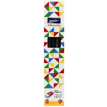 مداد مشکی ایمر مدل JM033 بسته 12 عددی به همراه 2 عدد پاک کن
