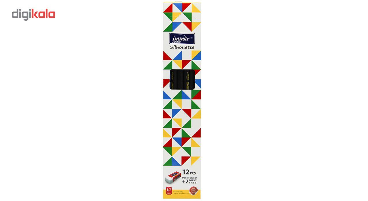 مداد مشکی ایمر مدل JM033 بسته 12 عددی به همراه 2 عدد پاک کن main 1 1