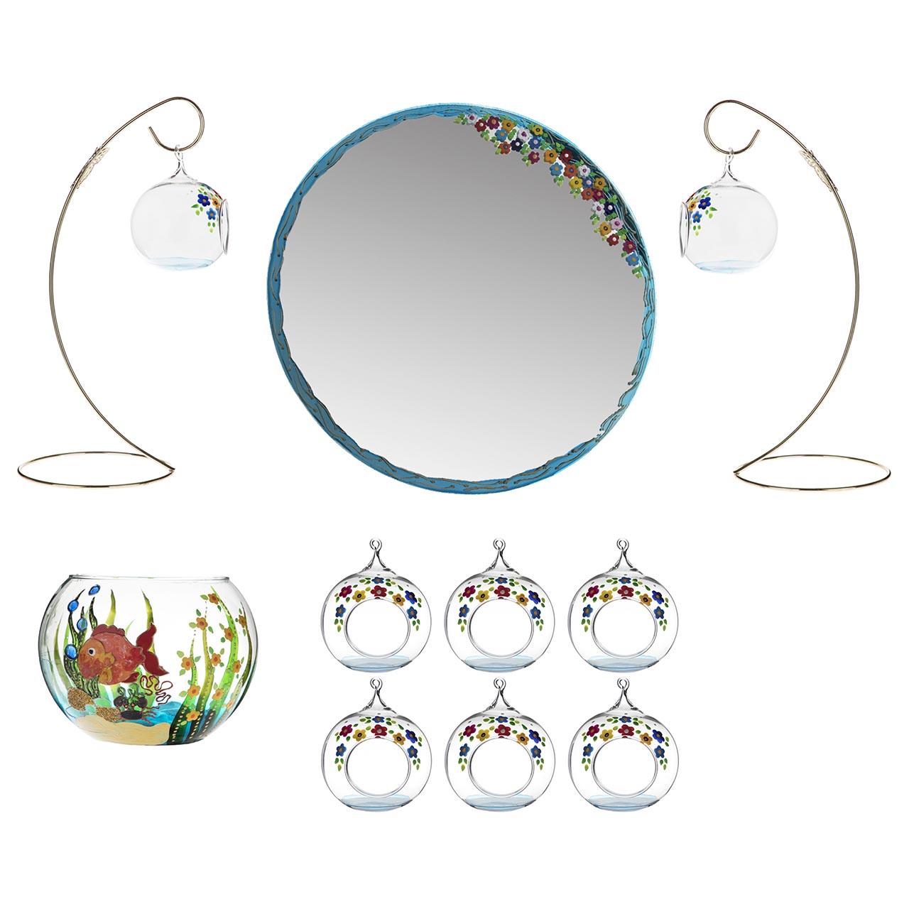 مجموعه ظروف هفت سین یازده پارچه مدل آکواریوم کد 9