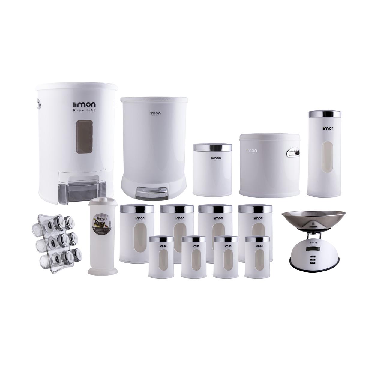خرید                     سرویس 22 پارچه آشپزخانه لیمون مدل 001
