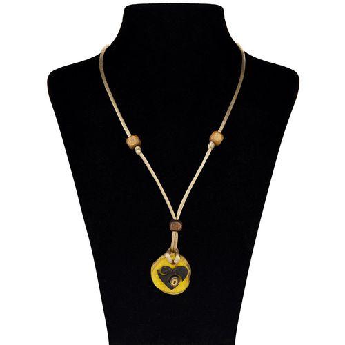 گردنبند چوب وطلا 18 عیار جواهری پرن  مدل ترمه قلب WP010