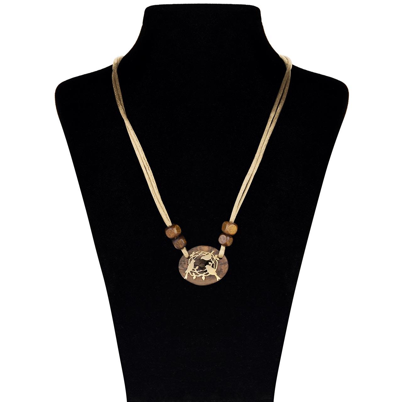 قیمت گردنبند طلا  18 عیار جواهری پرن مدل چوب  آشیانه WP001