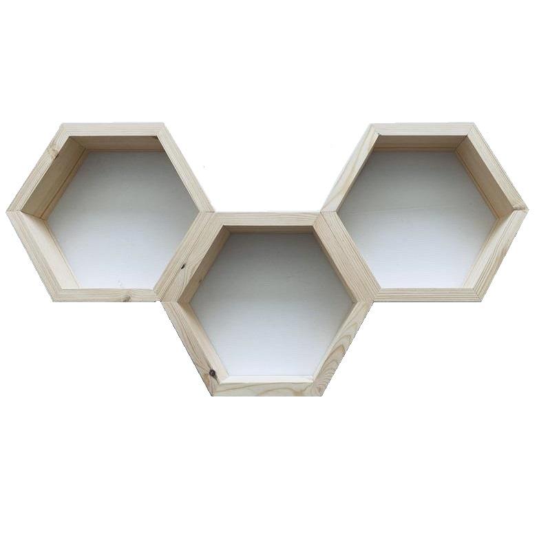 شلف دیواری مدل لانه زنبوری مجموعه 3 عددی