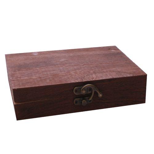 جعبه هدیه قفل دار مدل hedie_01 رنگ قهوه ای تیره طول 20 سانتی متر