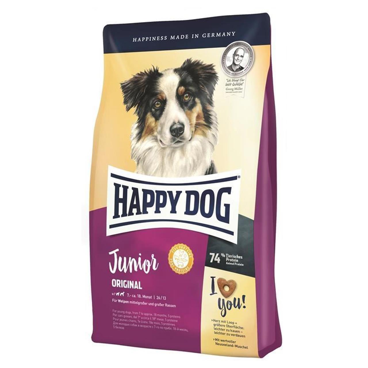 خرید                      غذای خشک هپی داگ سگ جوان مدل Junior Original نژاد متوسط و نژاد بزرگ 10 کیلویی