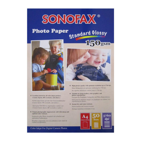 کاغذ عکس گلاسه سونوفکس مدل Standard Glossy 150GSM سایز A4 بسته 50 عددی
