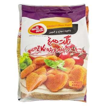 ناگت مرغ و پنیر ویژه 70% شام شام مقدار 450 گرم