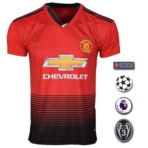 تی شرت ورزشی طرح منچستریونایتد مدل Home-18/19 به همراه تگ