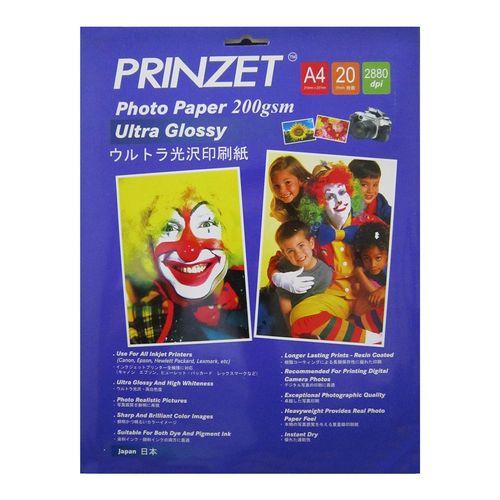 کاغذ عکس گلاسه فوق العاده براق پرینزت مدل Ultra Glossy 200GSM سایز A4 بسته 20 عددی