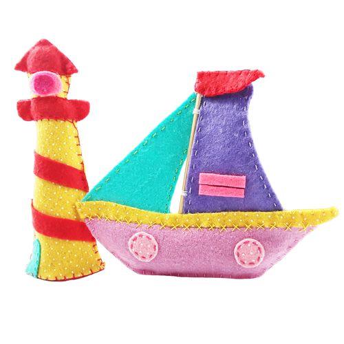 قایق بادبانی و فانوس دریایی نمدی اتاق کودک مدل Haiaho مجموعه دو عددی