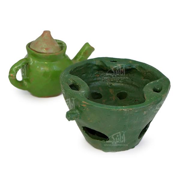 آتش دان سفالی  آرانیک لعاب ساده طرح دیبا  رنگ سبز  مدل 1000700003