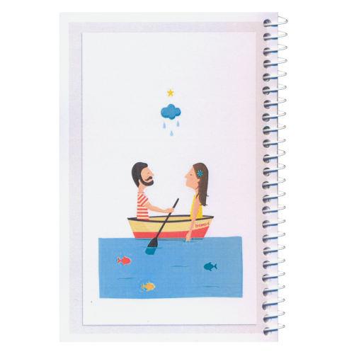 دفترچه یادداشت مدل کژوال طرح زوج قایق سوار سایز متوسط
