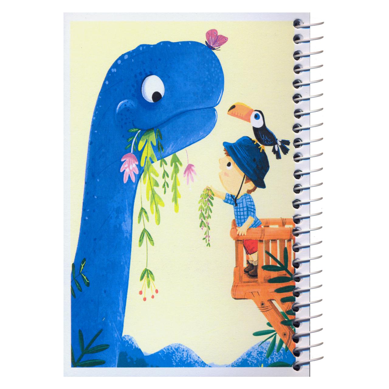 دفترچه یادداشت مدل کژوال طرح دایناسور مهربان سایز متوسط