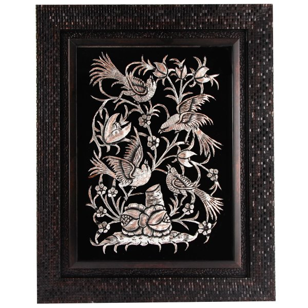 تابلو قلمزنی طرح گل و مرغ کد 149123