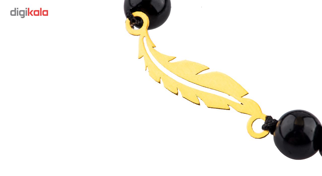 دستبند طلا 18 عیار گالری طلا باران مدل مشکی پر