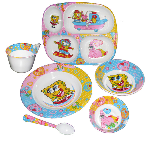 ست 6 تکه ظرف غذای کودک مدل باب اسفنجی
