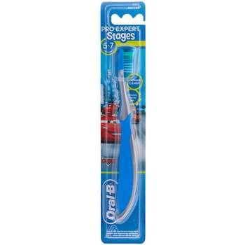 مسواک اورال-بی مدل Expert Stages3 5-7 Cars Blue با برس نرم