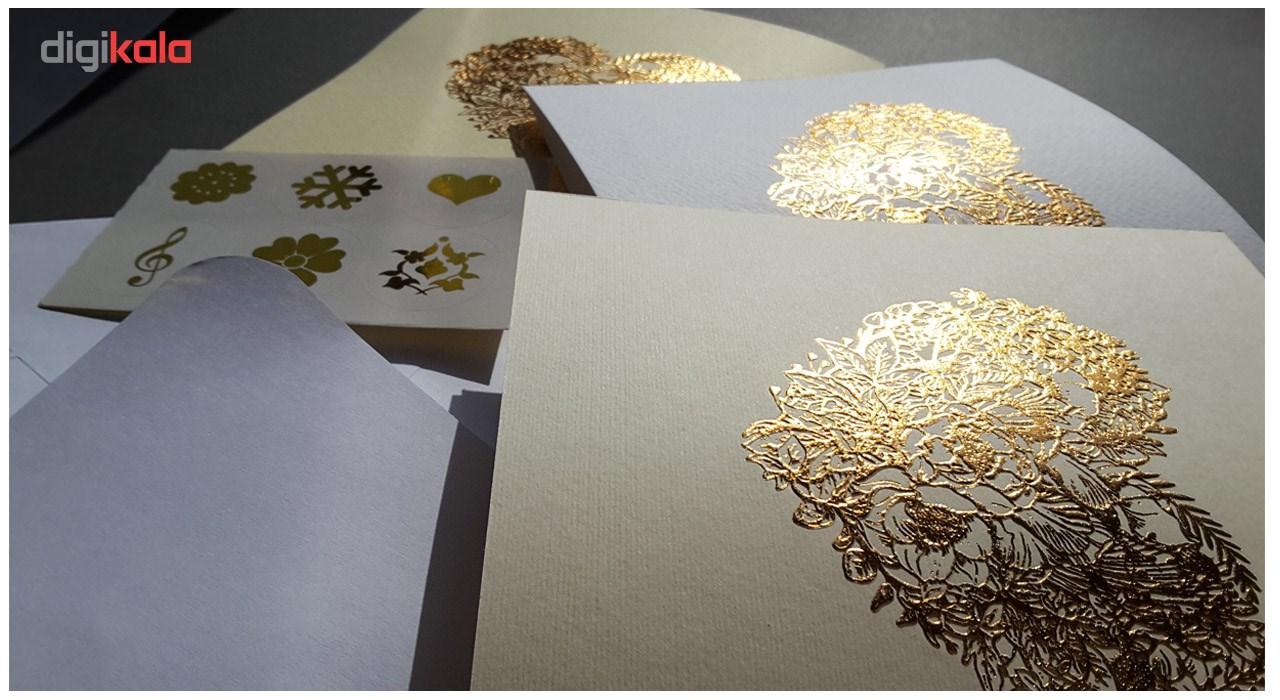 کارت پستال ستوده طرح قلب طلایی کد 053 بسته 3 عددی