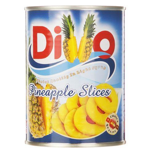 کمپوت آناناس حلقهای در شربت رقیق دیوو مقدار 565 گرم