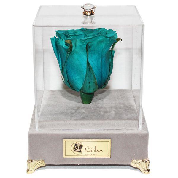 جعبه گل ماندگار گیتی باکس مدل رز جاودان فیروزه ای رنگ سایز بزرگ لاکچری ملانژ | Gitibox Luxury Melange Cyan Preserved Rose Flower Box