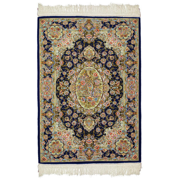 فرش دستباف ابریشم طرح زندگی