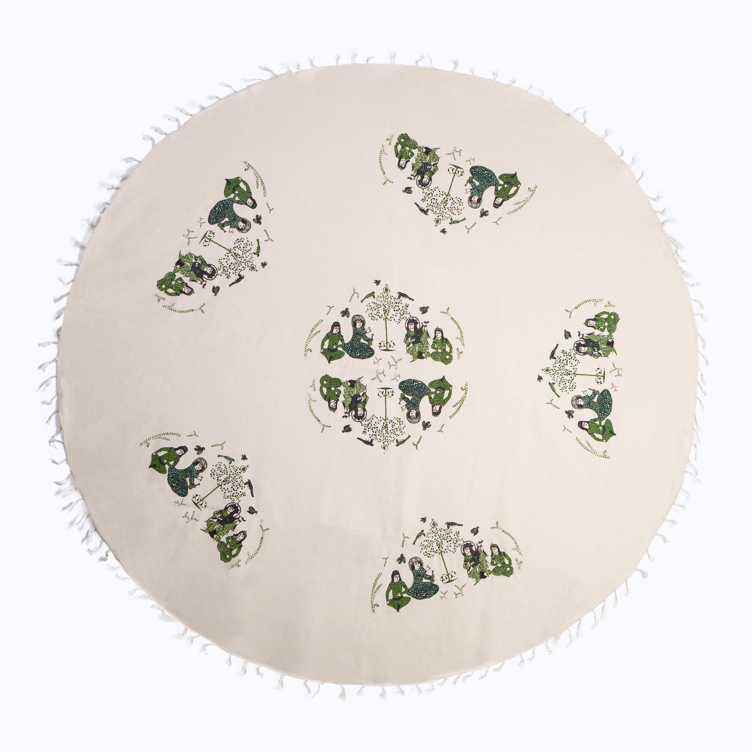 رومیزی چاپ دستی گدار مدل دلنوازان سلجوقی